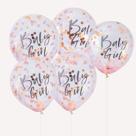 "Rose Gold & Pink Confetti Filled ""Baby Girl"" Baby Shower Balloons"